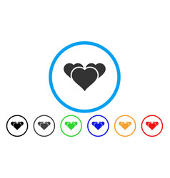favourite hearts rounded icon vector image vector image