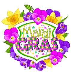 Floral mardi gras blazon vector