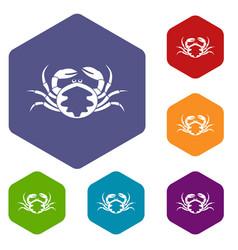 fresh live crab icons set hexagon vector image vector image