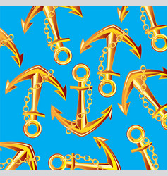 Golden anchor on turn blue vector