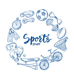 hand drawn sports tools circle concept with vector image vector image