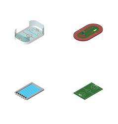 Isometric training set of ice games run stadium vector
