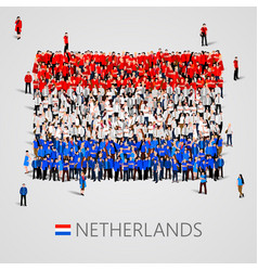 large group of people in the netherlands flag vector image vector image