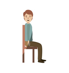 Light color shading caricature full body guy sit vector