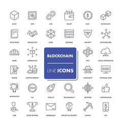 line icons set blockchain vector image vector image