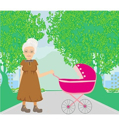 Old lady pushing a stroller in the park vector