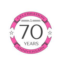 Realistic seventy years anniversary celebration vector