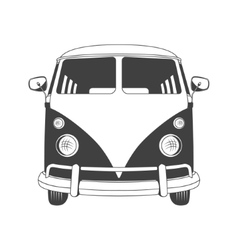 Retro travel bus front view vector