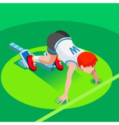 Running starting line kids marathon 3d isometric vector
