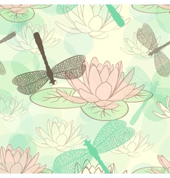 Seamless pattern with lotus flower and dragonflies vector image