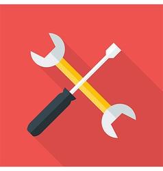 Settings flat circle icon vector image