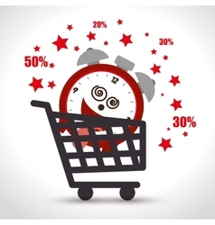 Shopping cart sale clock offer discount vector