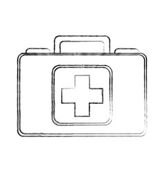 Sketch draw medical bag cartoon vector