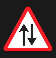 Two way traffic sign flat icon vector