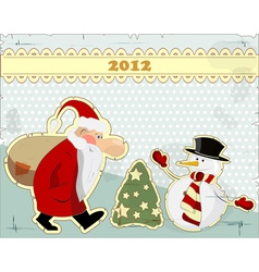 vintage style snowman vector image vector image