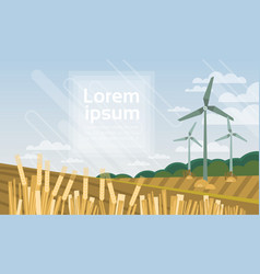 Wind turbine tower in field blue sky alternative vector
