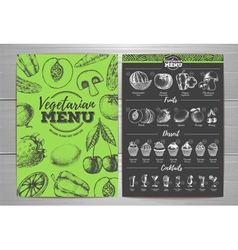 Vintage vegetarian menu design fresh fruit sketch vector