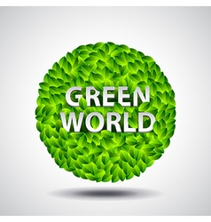 Ball from leaves and words green world ecology vector
