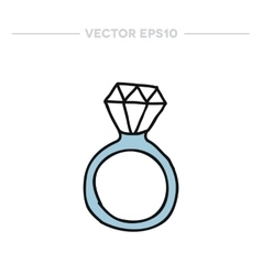 Doodle icon ring with a diamond vector