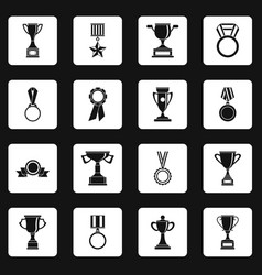 Trophy icons set squares vector
