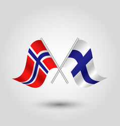 two crossed norwegian and finnish flags vector image
