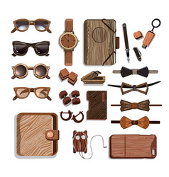 Wooden fashionable hipster accessories set vector
