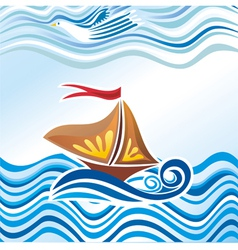 Beautiful sea wave bird ship vector