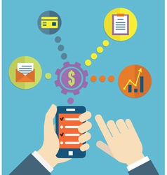 Manage of life by device of gadget for development vector image