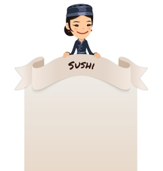 Asian female chef looking at blank menu on top vector