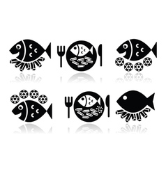 Fish and chips icons set vector