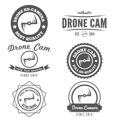 Set of logo label emblem or logotype for drone vector