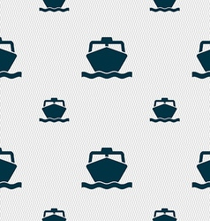 Boat icon sign seamless pattern with geometric vector