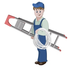 Electrician or cable guy with a ladder and a cable vector