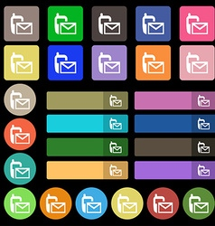 Mail icon envelope symbol message sms sign set vector