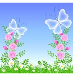 grass and butterflies vector image