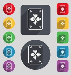 Game cards icon sign a set of 12 colored buttons vector