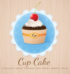 Cup cake chocolate cherry on table wood vector