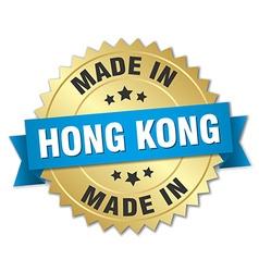 Made in hong kong gold badge with blue ribbon vector