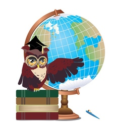 Owl with globe vector