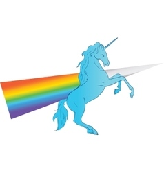 Unicorn silhouette icon logo with rainbow vector image