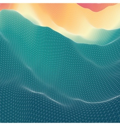 Water surface wavy grid background mosaic 3d vector