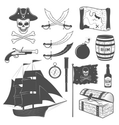 Pirates monochrome elements set vector