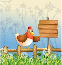 A chicken near a signboard at the woods vector image vector image
