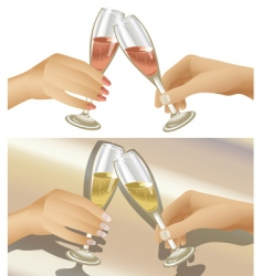 clinking champagne glasses vector image vector image