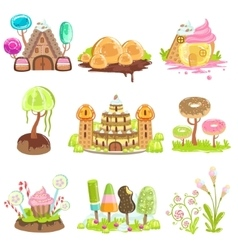 Fantasy landscape elements made of sweets and vector