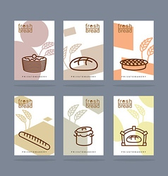 Fresh bread set of banners baking private bakery vector