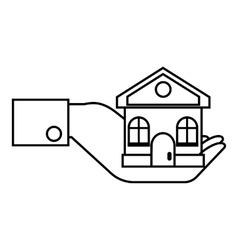 Hand holding house icon outline style vector image vector image