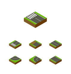 Isometric road set of way road flat and other vector