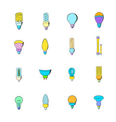 Light bulb icons set cartoon vector