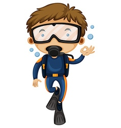 Man doing scuba diving vector